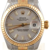 Rolex 2010 Ladies Two Tone Datejust Silver Stick Dial Flutded Bzl