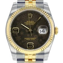 Rolex DATEJUST 36 Steel Yellow Gold Chocolate Floral Dial