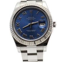 Rolex Datejust II Steel and White Gold Blue index