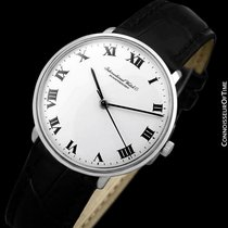IWC 1973 Vintage Mens Dress Watch with White Roman Dial, Caliber