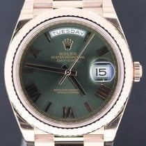 Rolex Day-Date President 40MM, Pink Gold Green Roman Dial,Full...