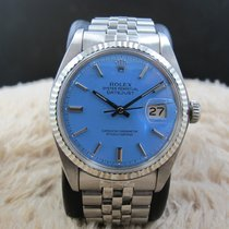 """Rolex DATEJUST 1601 SS with Glossy """"Stella"""" Sky Blue Dial"""