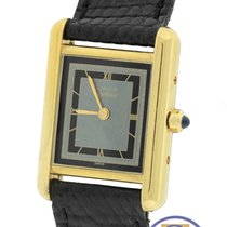 Omega Vermeil Tank Quartz Silver Gold Plated 22mm Leather Watch
