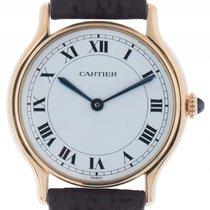 까르띠에 (Cartier) Classic 18kt Gelbgold Handaufzug Armband Leder...