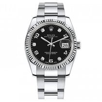 Rolex DATE 34 MM WHITE GOLD BEZEL BLACK DIAMOND DIAL