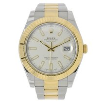 Rolex DATEJUST II 41mm 18K Yellow Gold Ivory Dial