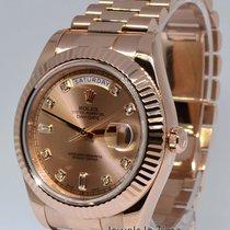 Rolex Day-Date II 18k Rose Gold Mens Watch Diamond Dial...