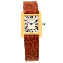 Cartier Tank Louis 18k Yellow Gold Brown Strap Ladies Watch...
