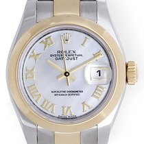 Rolex Ladies Datejust 2-Tone Watch Mother of Pearl Roman 179163