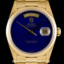 Rolex 18k Y/G O/P Rare Lapis Lazuli Dial Day-Date B&P 18238
