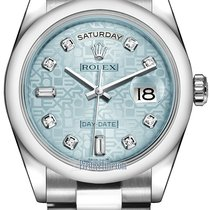 Rolex Day-Date 36mm Platinum Domed Bezel 118206 Ice Blue...
