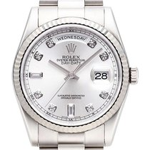 Rolex Day-Date 36 18 kt Weißgold Ref. 118239 Silber DIA