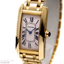 Cartier Tank Amercaine Lady 18k Yellow Gold Box Papers Bj-2000