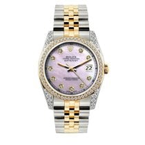 Rolex Datejust Men's 36mm Pink Mother Of Pearl Dial Gold...