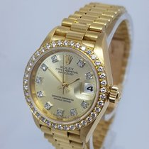 Rolex Lady-Datejust 26mm 18K Gold Diamond Dial & Bezel Watch