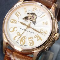 Hamilton JAZZMASTER LADY AUTO Rose Gold-Brown Leather 34mm...