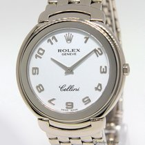 Rolex Cellini 18k White Gold White Dial 37mm Quartz Mens Watch...