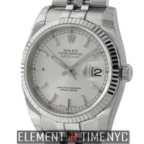Rolex Datejust 36mm Steel & White Gold Fluted Bezel Silver...