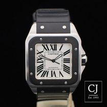 Cartier Santos 100 Stainless Steel Case Rubber Bezel & Strap