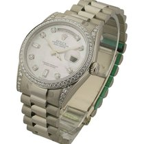 Rolex Used 118389 Mens President Day - Date in White Gold -...