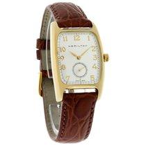 Hamilton Boulton Mens Gold Tone Brown Leather Strap Watch...