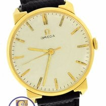 Omega 14K Yellow Gold Manual Hand-Winding 34mm Silver Black Strap