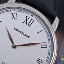 Montblanc Tradition Date 40mm Steel on Leather White Roman...
