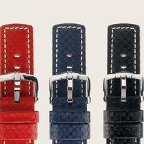 Hirsch Uhrenarmband Leder Carbon blau L 02592080-2-20 20mm