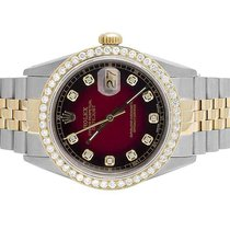 Rolex Datejust Two Tone 18K/ Steel 36MM Quickset 16014 Diamond...