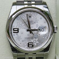 Rolex Mens Ladies New Datejust Watch 36mm Silver Floral Flower...