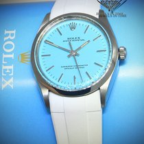 Rolex Oyster Perpetual No Date Steel Blue Dial White Strap...