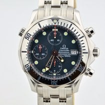 Omega Seamaster Chronograph Stainless Steel Blue Wave Dial...