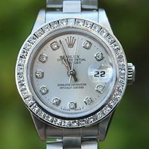 Rolex Ladies 69160 Datejust 26mm Stainless Steel Diamond Bezel...