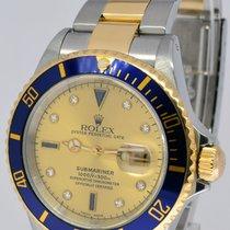 Rolex Submariner 18k Yellow Gold/Steel Serti Diamond Dial Mens...