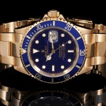 Rolex 18K Submariner 16618 40mm No Holes Case with Blue Dial