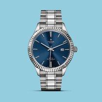 튜더 (Tudor) Style 41mm, geriffelte Lünette, Stahlband, blau -NEU-