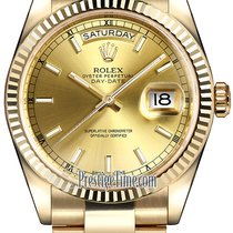Rolex Day-Date 36mm Yellow Gold Fluted Bezel 118238 Champagne...