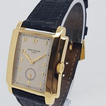 Patek Philippe 18k Yellow Gold Silver Arabic Dial Gondolo Mens...