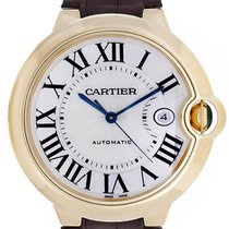 Cartier Ballon Bleu 18KT Yellow Gold Brown Leather Men Watch...