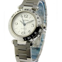 Cartier 2377 Pasha C - GMT in Steel - on Bracelet with Silver...