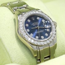 Rolex Masterpiece Pearlmaster 80299 18k W Gold Fact Diamond...