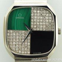 Omega Watch Onyx Malachite Diamonds Set with Cuff Links &...