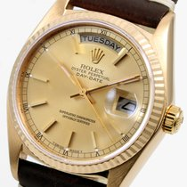 "Ρολεξ (Rolex) 18K Yellow Gold 36mm Day-Date Brown ""Horween..."