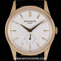 Patek Philippe 18k Rose Gold Silver Baton Dial Calatrava Gents...