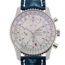 Breitling Navitimer World 46 Chronograph Silver Dial Blue...