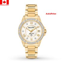Bulova 98R235 Goldtone With White Mother of Pearl Diamond...