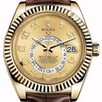 Rolex Sky-Dweller 326138-0004 Champagne Arabic Fluted Yellow...