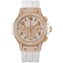 Hublot Big Bang Full Pave White Chronograph 18k Rose Gold Diamond