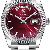 Rolex Day-Date 36mm White Gold Fluted Bezel 118239 Cherry...