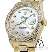 Rolex Presidential 36mm Day Date White Dial Diamond Watch 18kt...